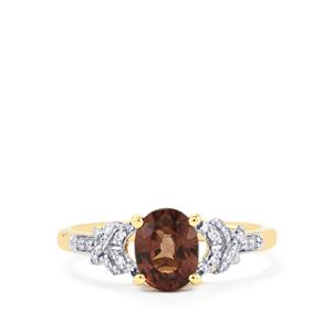 Bekily Color Change Garnet Ring with Diamond in 18k Gold 1.89cts