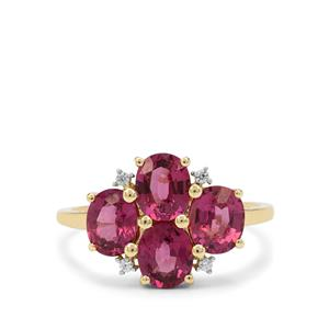 Comeria Garnet Ring with White Zircon in 9K Gold 3.16cts