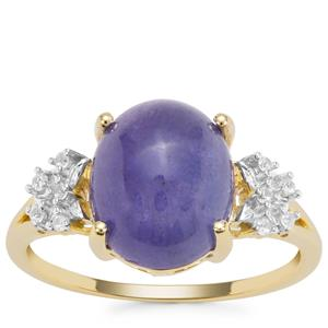 Tanzanite Ring with White Zircon in 9K Gold 5.09cts