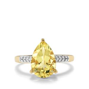 Chartreuse Sanidine Ring with White Zircon in 10K Gold 2.63cts