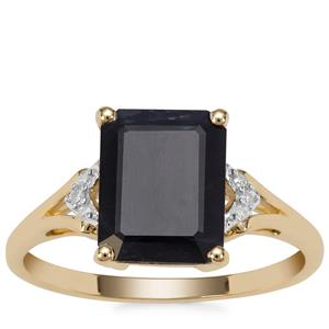 Ethiopian Sapphire Ring with Diamond in 9K Gold 3.85cts