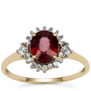 Malawi Garnet Ring with White Zircon in 9K Gold 1.90cts