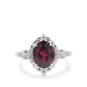 Tocantin Garnet Ring with White Zircon in Sterling Silver 3.49cts