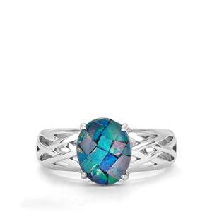 Mosaic Opal Ring in Sterling Silver (10 x 8mm)