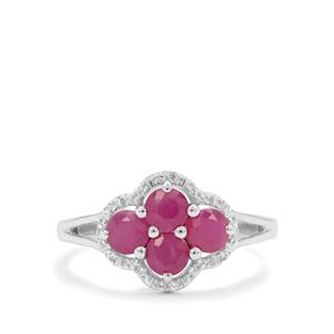 John Saul Ruby Ring with White Zircon in Sterling Silver 1.55cts
