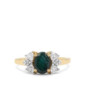 Grandidierite Ring with White Zircon in 9K Gold 1.78cts
