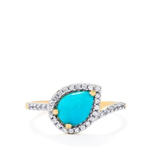 Sleeping Beauty Turquoise & White Zircon 10K Gold Ring ATGW 1.15cts