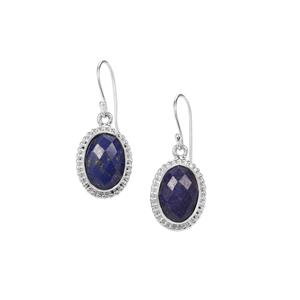Sar-i-Sang Lapis Lazuli Earrings in Sterling Silver 12cts