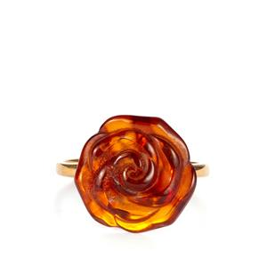 Baltic Cognac Amber Ring in Gold Plated Sterling Silver (15mm)