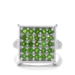 Chrome Diopside & White Zircon Sterling Silver Ring ATGW 1.93cts