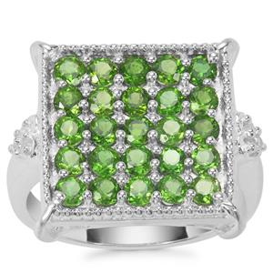 Chrome Diopside Ring with White Zircon in Sterling Silver 1.93cts