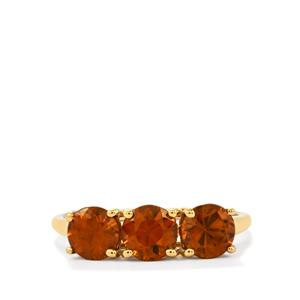 Cognac Zircon Ring in 10k Gold 2.78cts