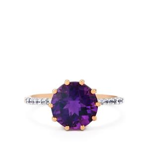 Zambian Amethyst Ring with Ceylon White Sapphire in 9K Rose Gold 2.67cts