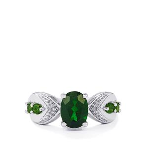 Chrome Diopside & Diamond Sterling Silver Ring ATGW 1.82cts