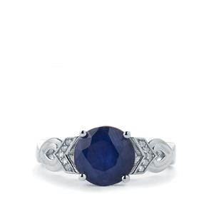 Madagascan Blue Sapphire & White Topaz Sterling Silver Ring ATGW 3.46cts