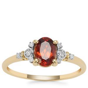 Singida Marsala Zircon Ring with Diamond in 9K Gold 1.20cts