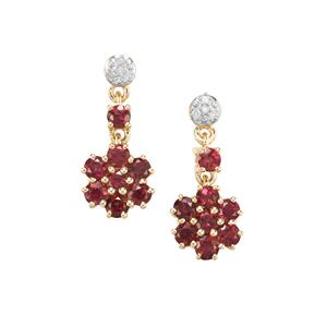 Cruzeiro Rubellite Earrings with Diamond in 10k Gold 1.09cts