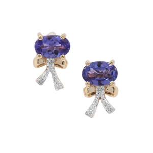 AAA Tanzanite Earrings with Diamond in 9K Gold 0.96cts