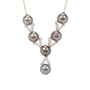 Tahitian Cultured Pearl Necklace with Diamond in 18K Gold (7mm)