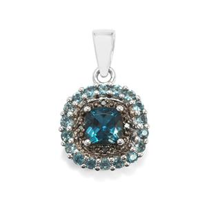 Marambaia London Blue Topaz Pendant with Blue Diamond in Sterling Silver 2.08cts