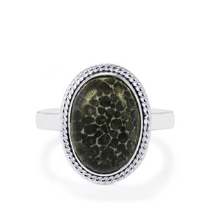 Fossil Black Coral Ring in Sterling Silver 5.12cts