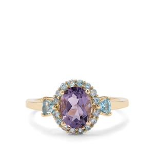 Montezuma Blue Quartz Ring with Blue Topaz in 9K Gold 1.70cts