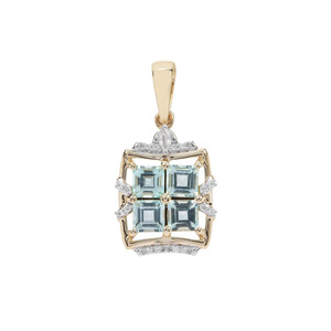 Aquaiba™ Beryl Pendant with White Zircon in 9K Gold 1.30cts