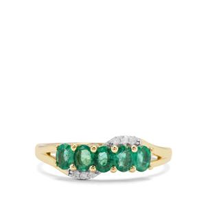 Zambian Emerald Ring with Diamond in 9K Gold 0.65ct