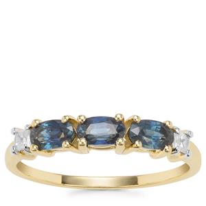 Australian Blue Sapphire Ring with White Zircon in 9K Gold 1.07cts