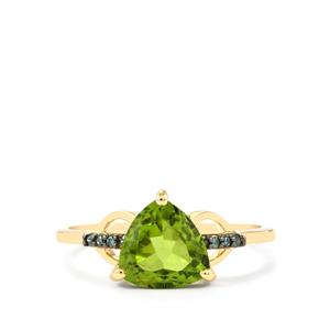 Changbai Peridot Ring with Green Diamond in 10k Gold 2cts