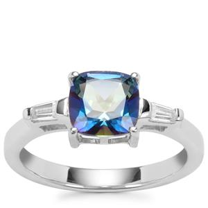 Mystic Blue Topaz Ring with White Zircon in Sterling Silver 1.92cts