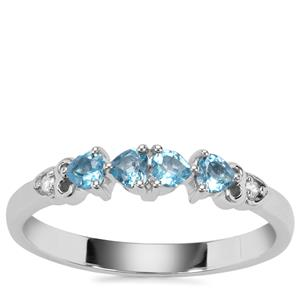 Swiss Blue Topaz Ring with White Zircon in Sterling Silver 0.43ct