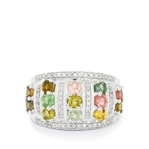 Rainbow Tourmaline & White Topaz Sterling Silver Ring ATGW 1.80cts