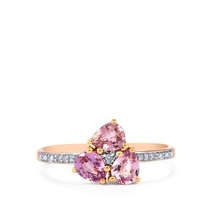 Natural Pink Sapphire Ring with Diamond in 10k Rose Gold 1.18cts