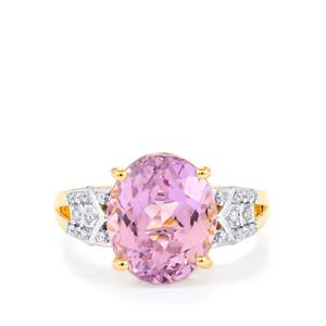 Mawi Kunzite Ring with Diamond in 14k Gold 5.85cts