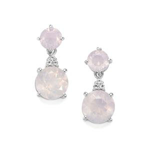Sapucaia Quartz & White Topaz Sterling Silver Earrings ATGW 6.76cts