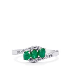 Itabira Emerald Ring with White Topaz in Sterling Silver 0.68cts