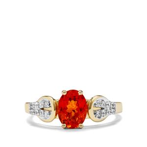 Mandarin Garnet Ring with White Zircon in 10K Gold 1.96cts
