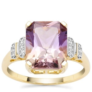 Anahi Ametrine Ring with White Zircon in 9K Gold 3.76cts