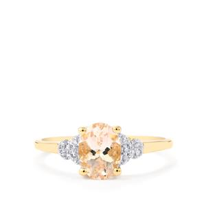 Mutala Morganite Ring with White Zircon in 10K Gold 1.14cts