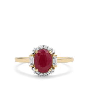 Burmese Ruby & White Zircon 9K Gold Ring ATGW 1.85cts